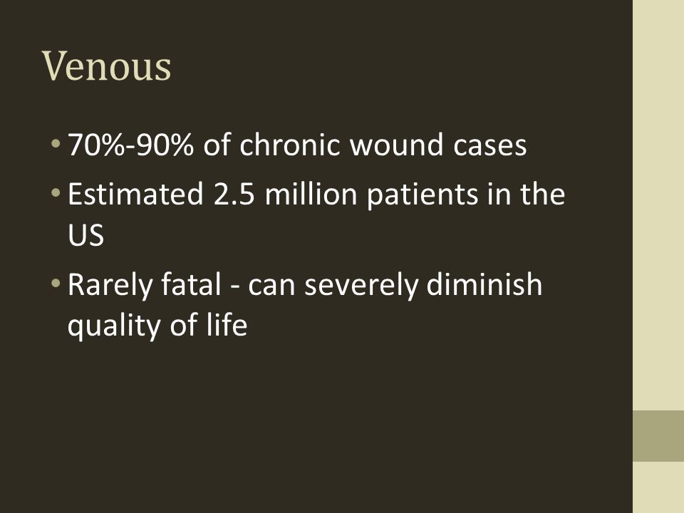 Venous 70%-90% of chronic wound cases
