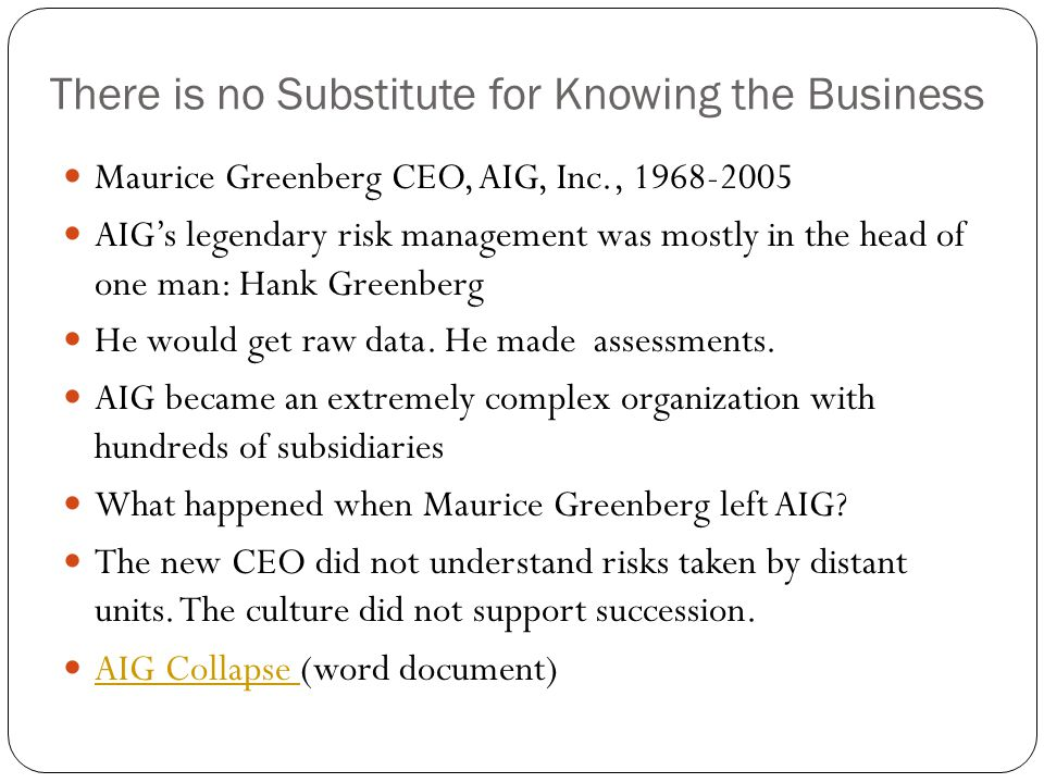 There is no Substitute for Knowing the Business