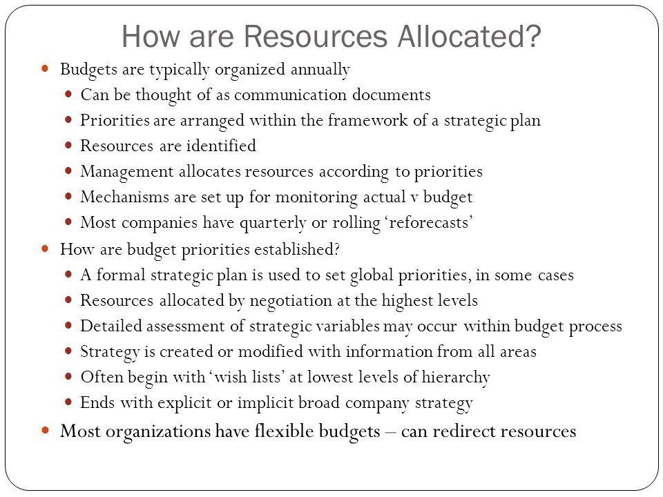 How are Resources Allocated