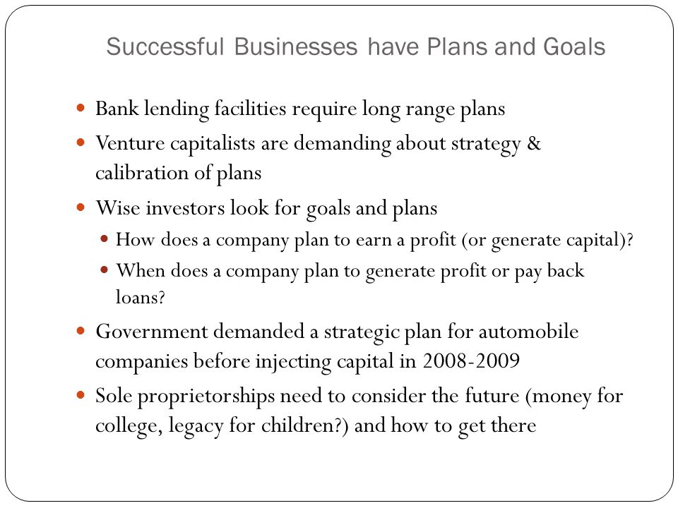 Successful Businesses have Plans and Goals