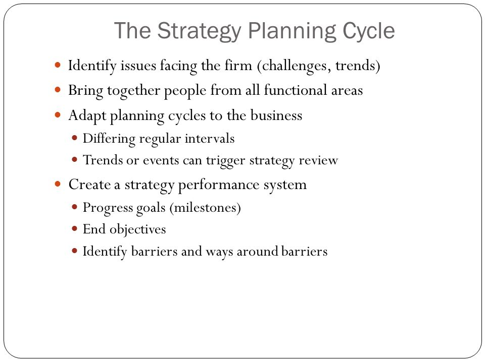 The Strategy Planning Cycle