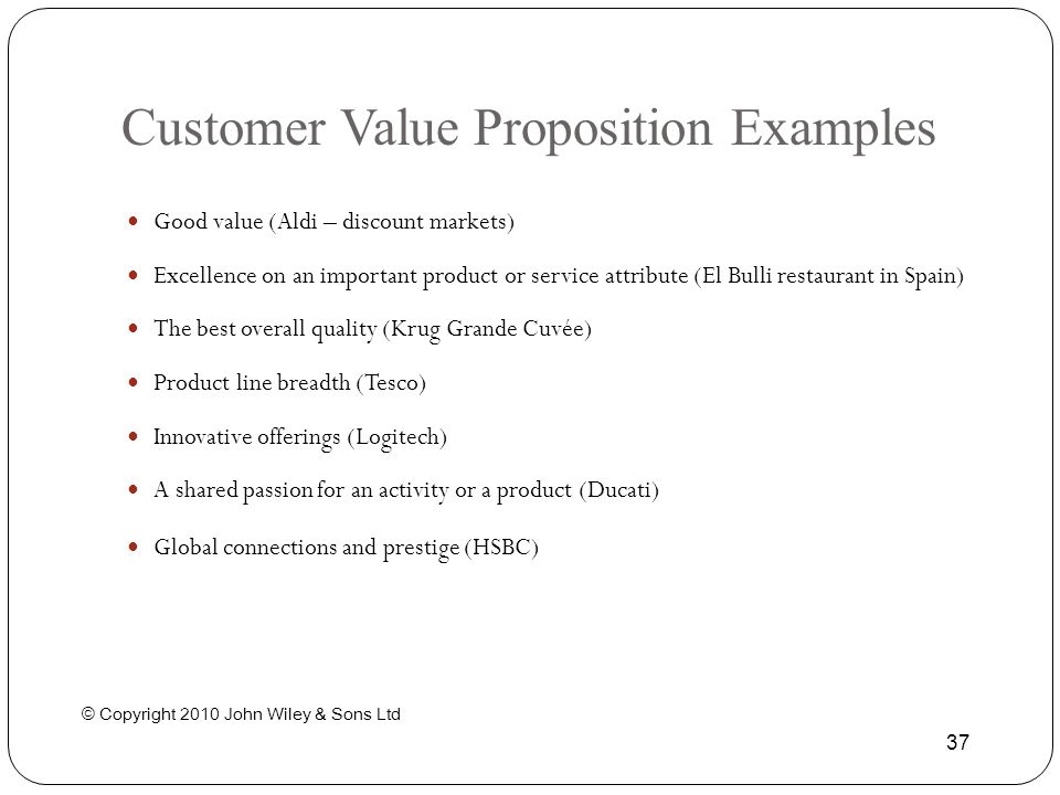 Customer Value Proposition Examples