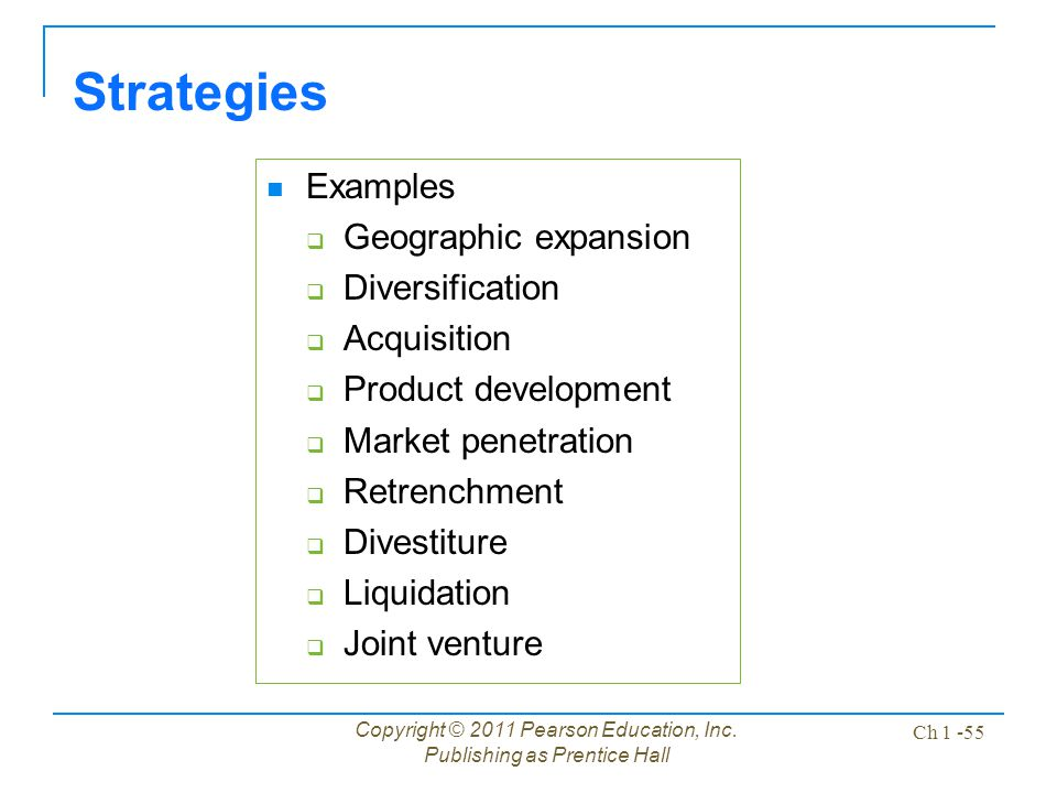 Strategies Examples Geographic expansion Diversification Acquisition