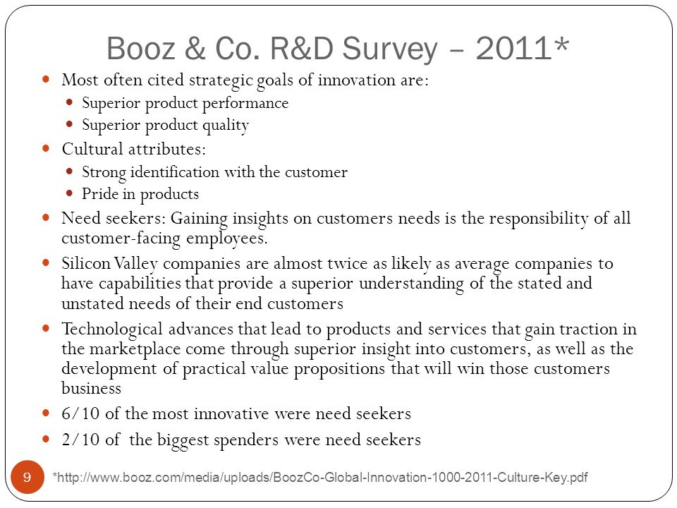 Booz & Co. R&D Survey – 2011* Most often cited strategic goals of innovation are: Superior product performance.