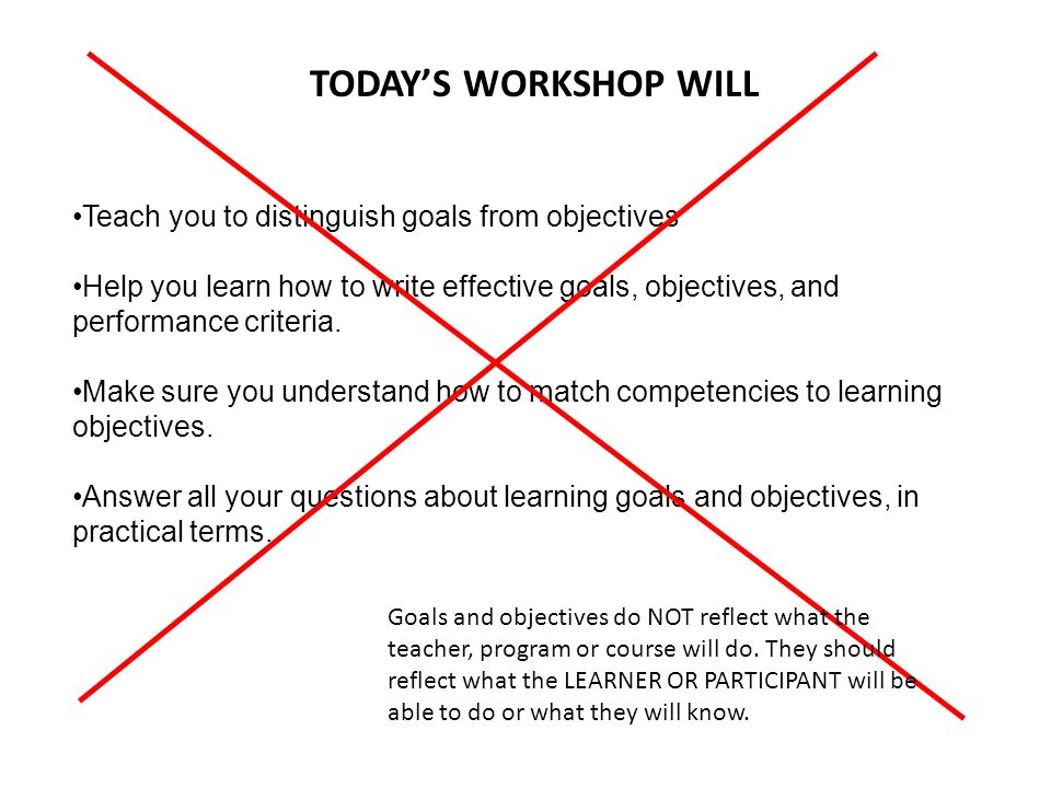 TODAY'S WORKSHOP WILL Teach you to distinguish goals from objectives