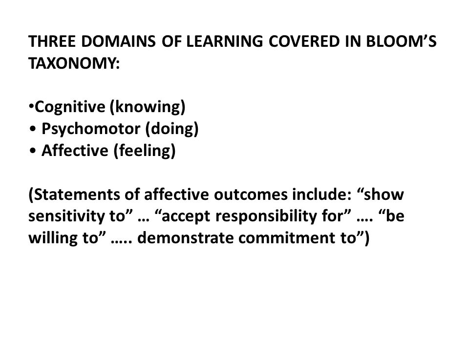 THREE DOMAINS OF LEARNING COVERED IN BLOOM'S TAXONOMY: