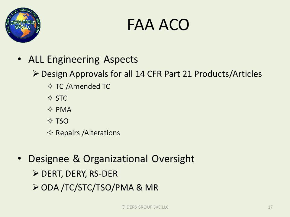 FAA ACO ALL Engineering Aspects Designee & Organizational Oversight