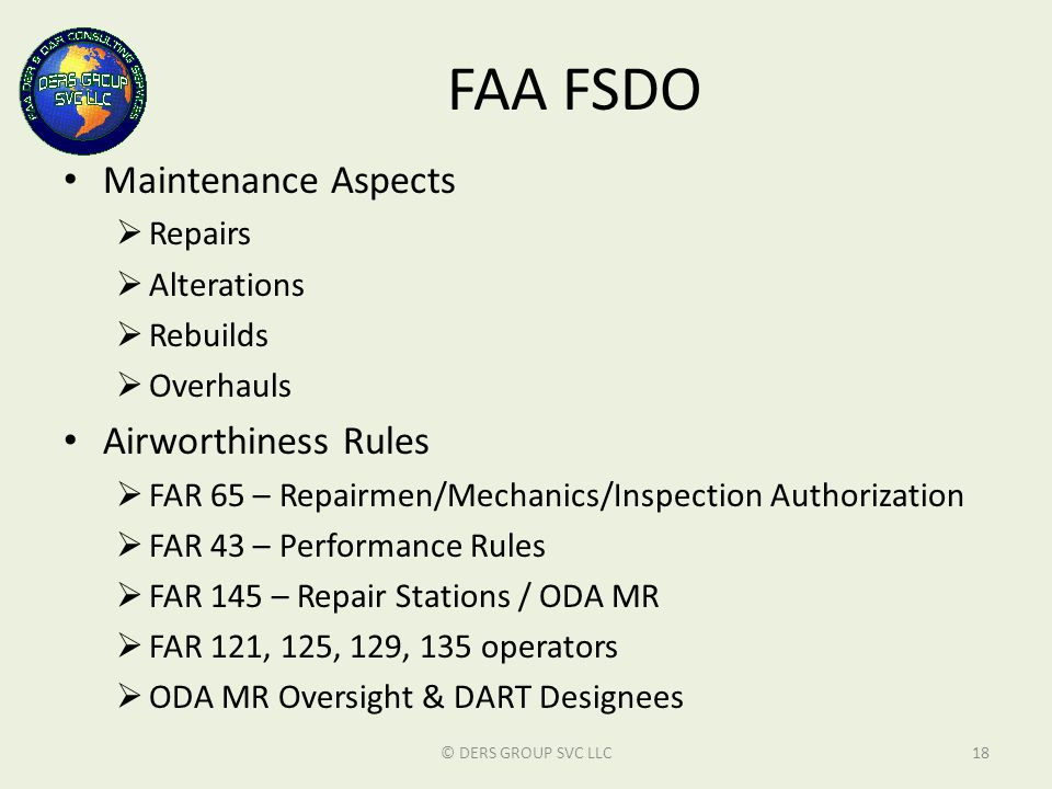 FAA FSDO Maintenance Aspects Airworthiness Rules Repairs Alterations