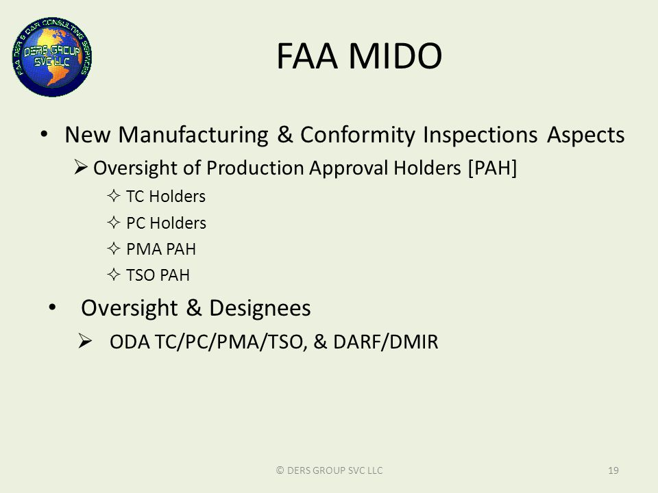 FAA MIDO New Manufacturing & Conformity Inspections Aspects