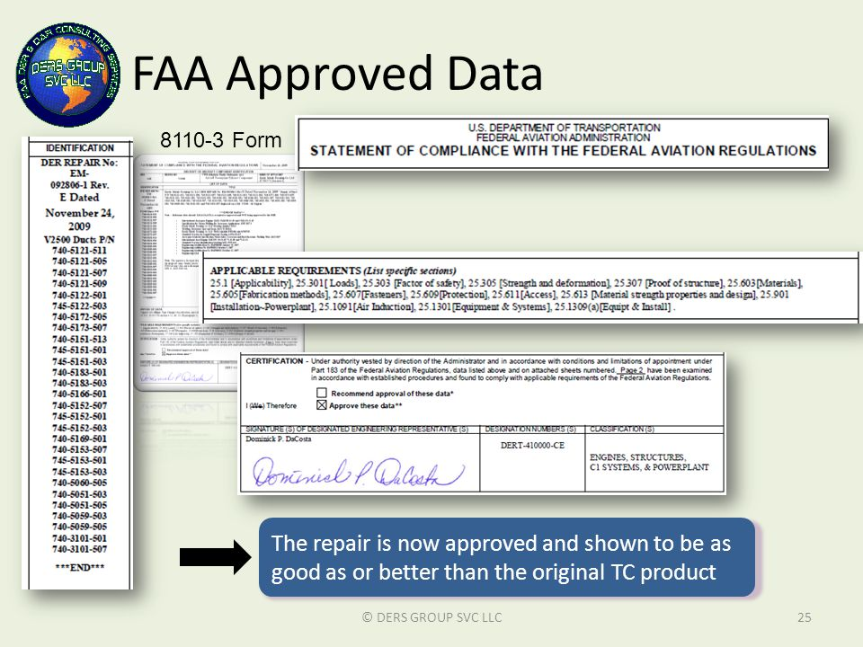 FAA Approved Data 8110-3 Form. The repair is now approved and shown to be as good as or better than the original TC product.