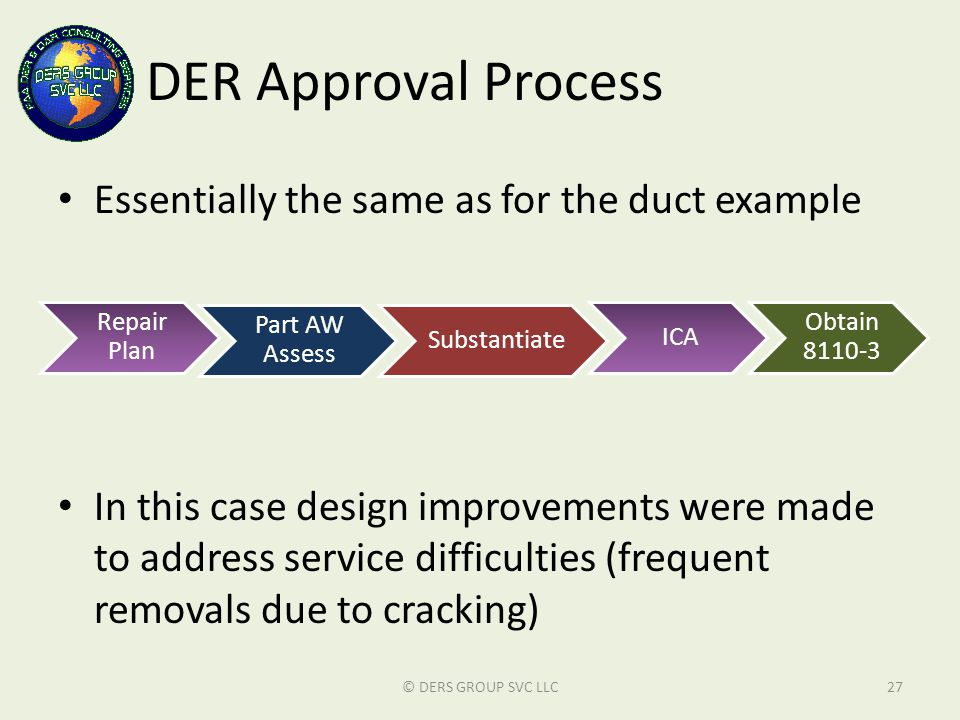 DER Approval Process Essentially the same as for the duct example