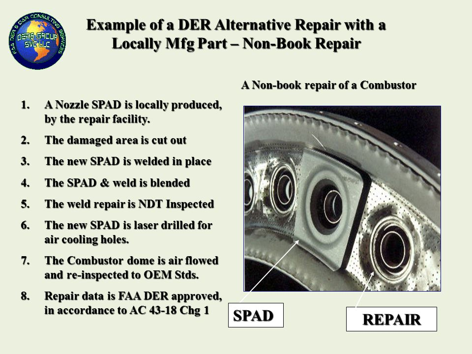 Example of a DER Alternative Repair with a Locally Mfg Part – Non-Book Repair