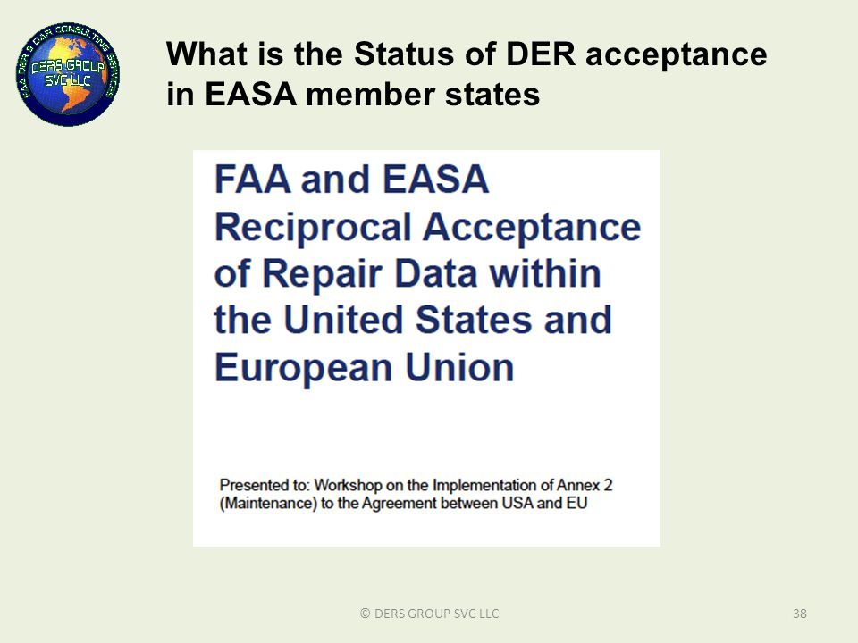 What is the Status of DER acceptance in EASA member states