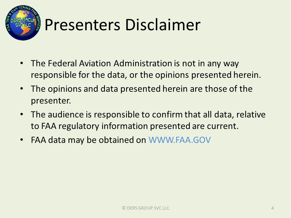 Presenters Disclaimer