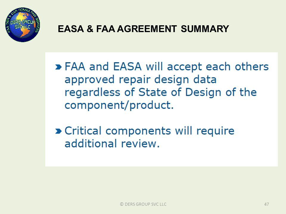 EASA & FAA AGREEMENT SUMMARY