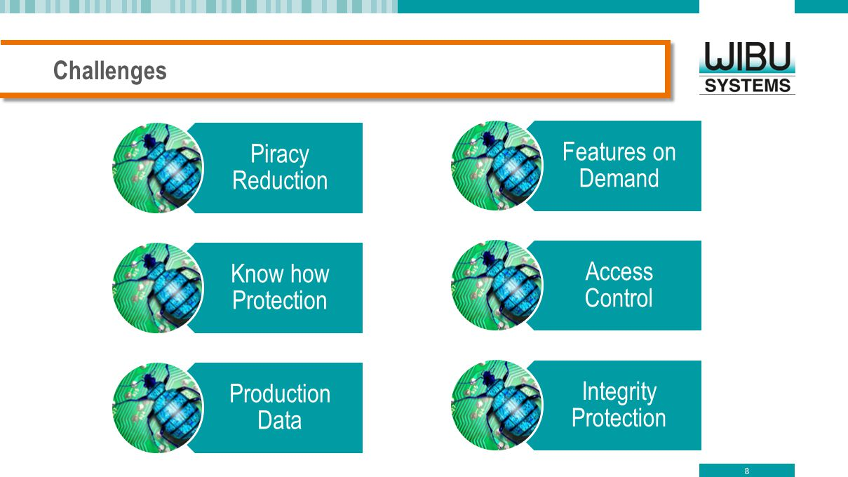 Challenges Piracy Reduction. Know how Protection. Production Data. Features on Demand. Access Control.