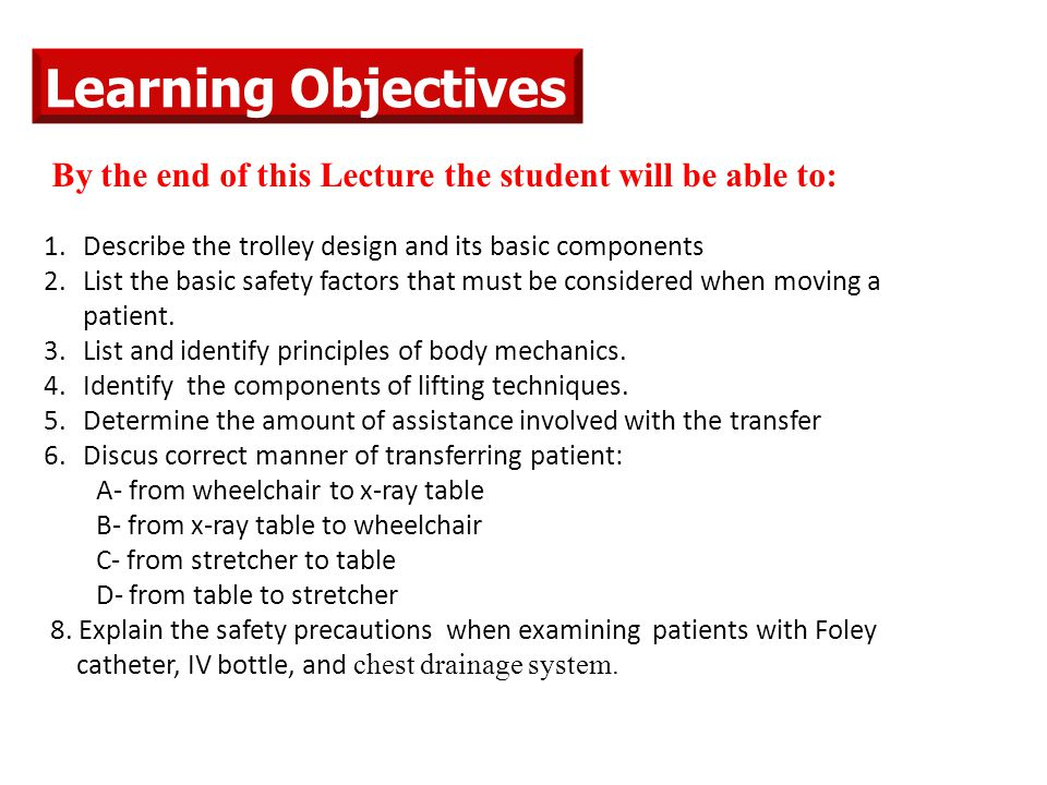 Learning Objectives By the end of this Lecture the student will be able to: Describe the trolley design and its basic components.