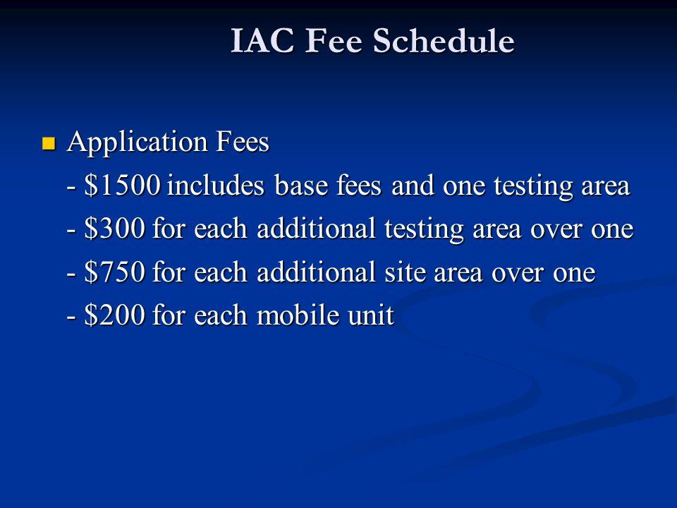 IAC Fee Schedule Application Fees