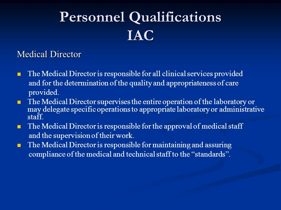 Personnel Qualifications IAC