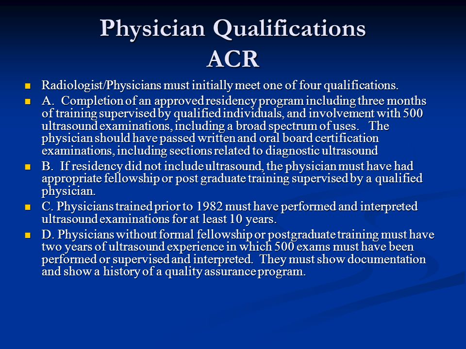 Physician Qualifications ACR