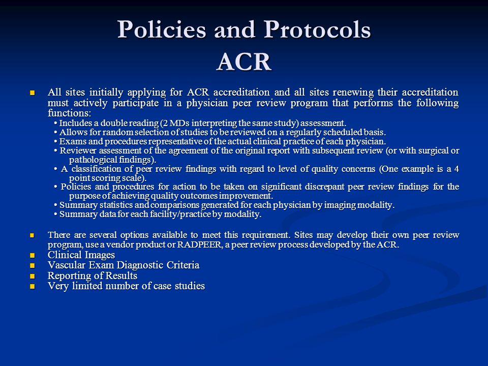 Policies and Protocols ACR