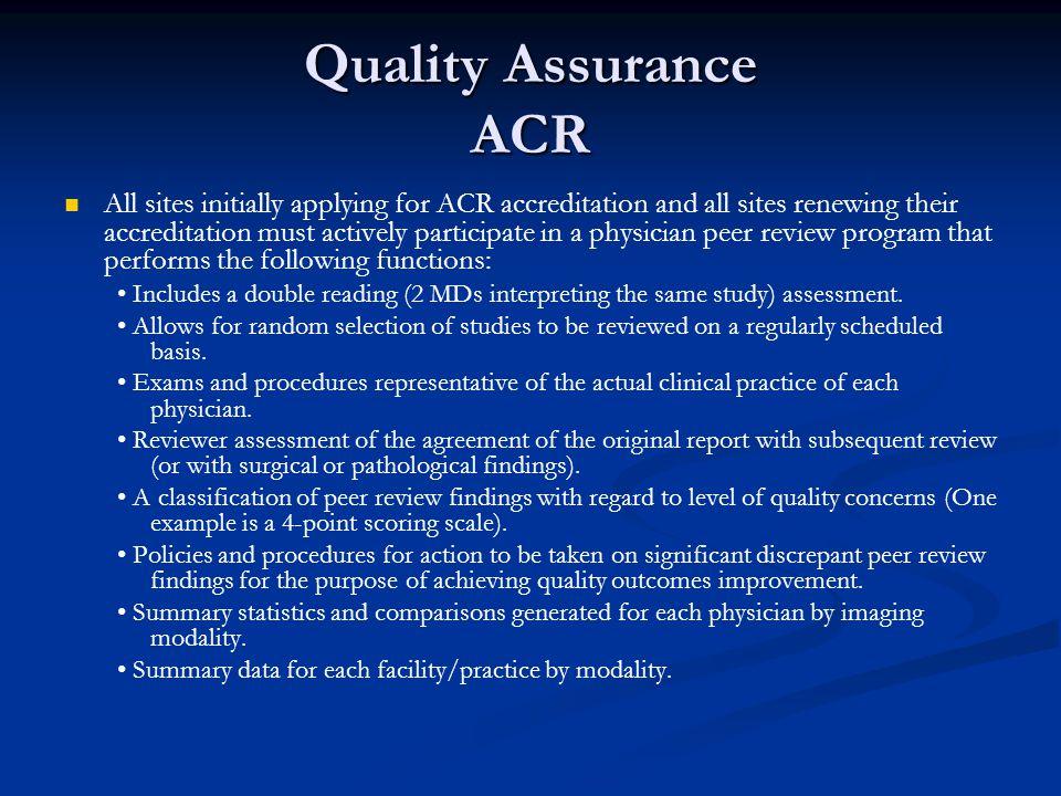 Quality Assurance ACR