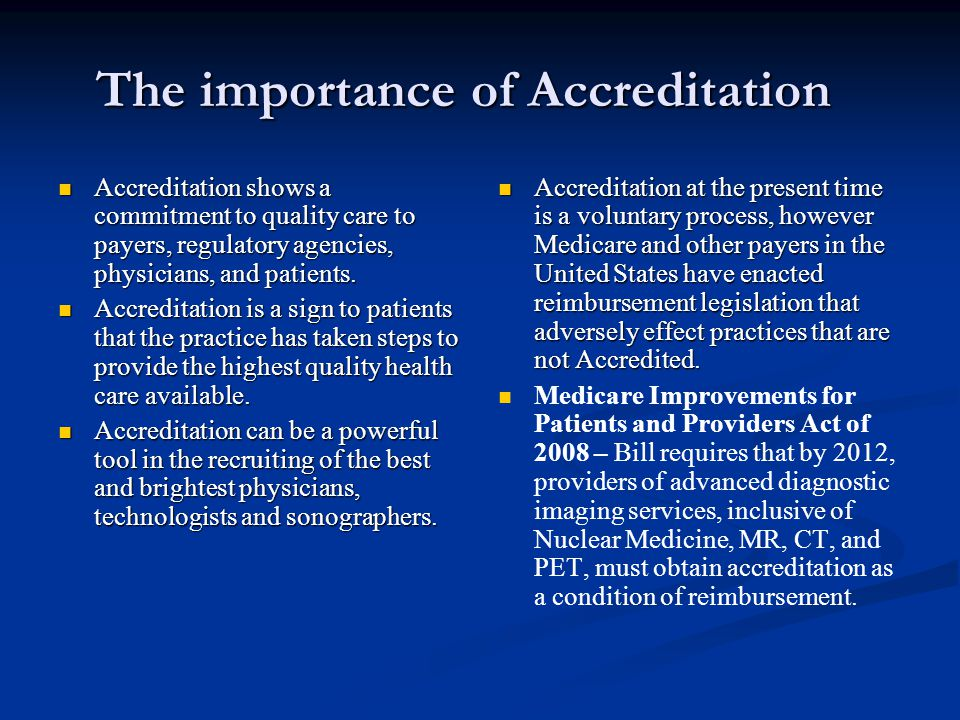 The importance of Accreditation