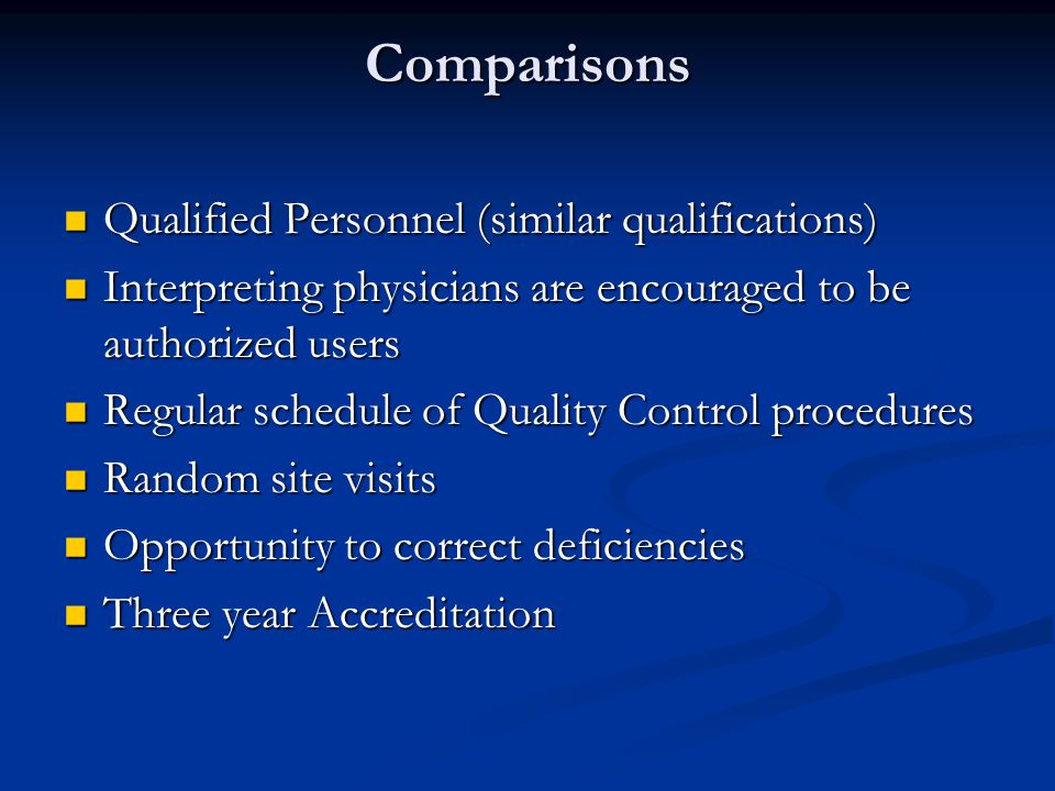Comparisons Qualified Personnel (similar qualifications)