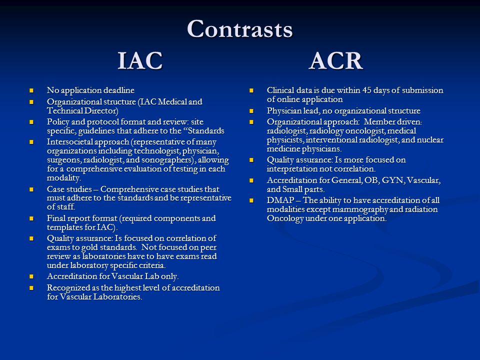 Contrasts IAC ACR No application deadline