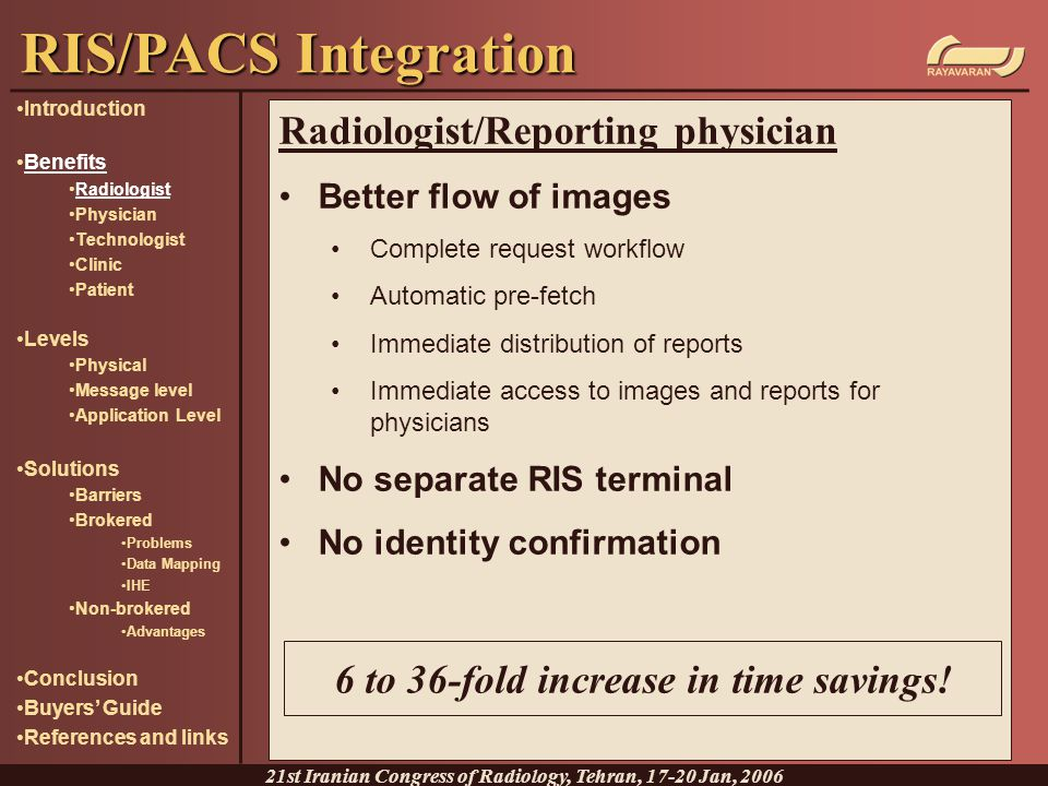 RIS/PACS Integration Radiologist/Reporting physician