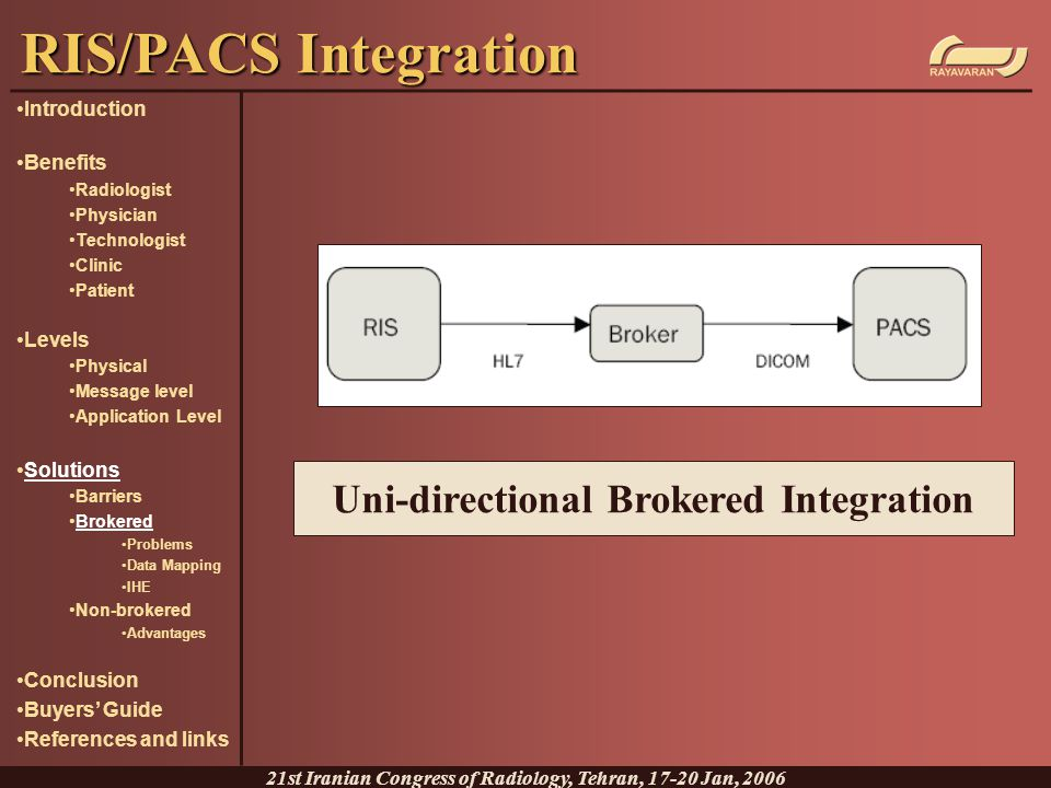RIS/PACS Integration Uni-directional Brokered Integration Introduction
