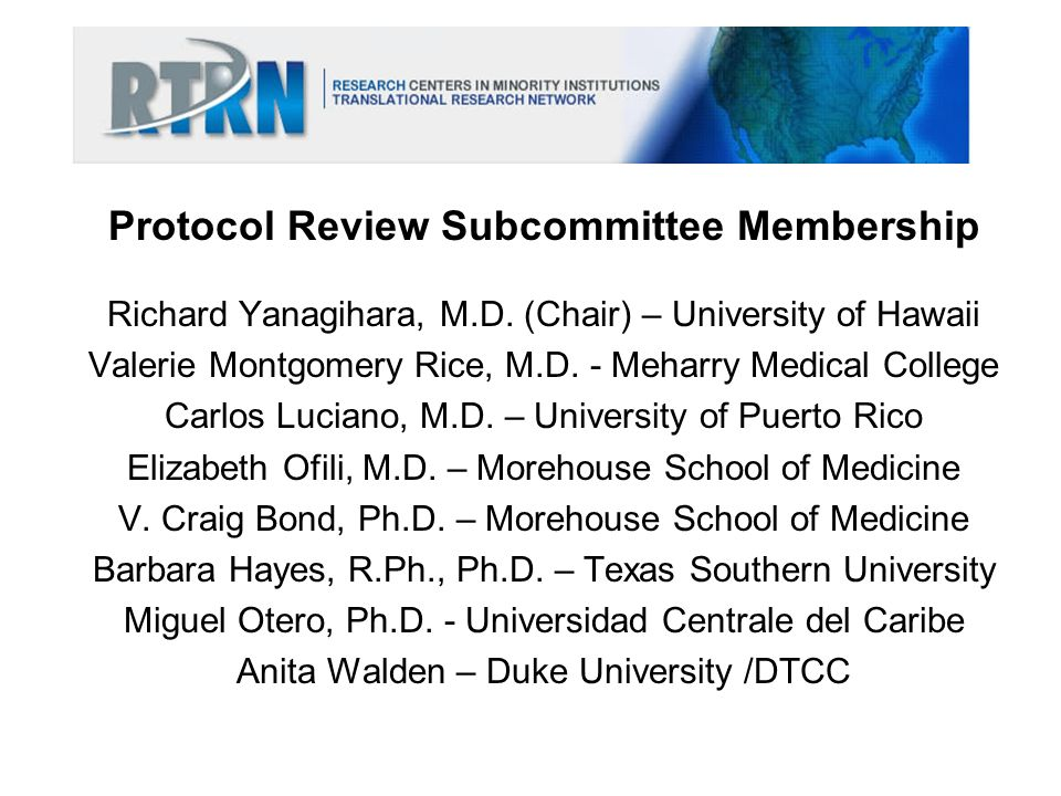 Protocol Review Subcommittee Membership