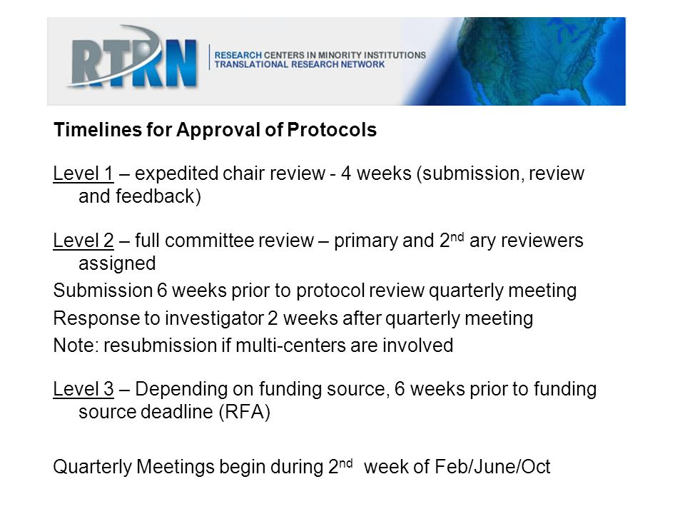 Timelines for Approval of Protocols