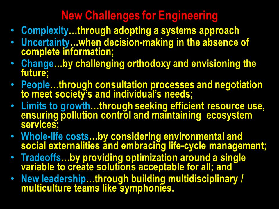 New Challenges for Engineering