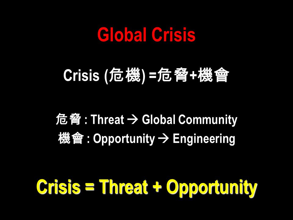 Global Crisis Crisis = Threat + Opportunity