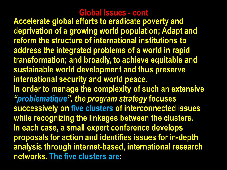 Global Issues - cont