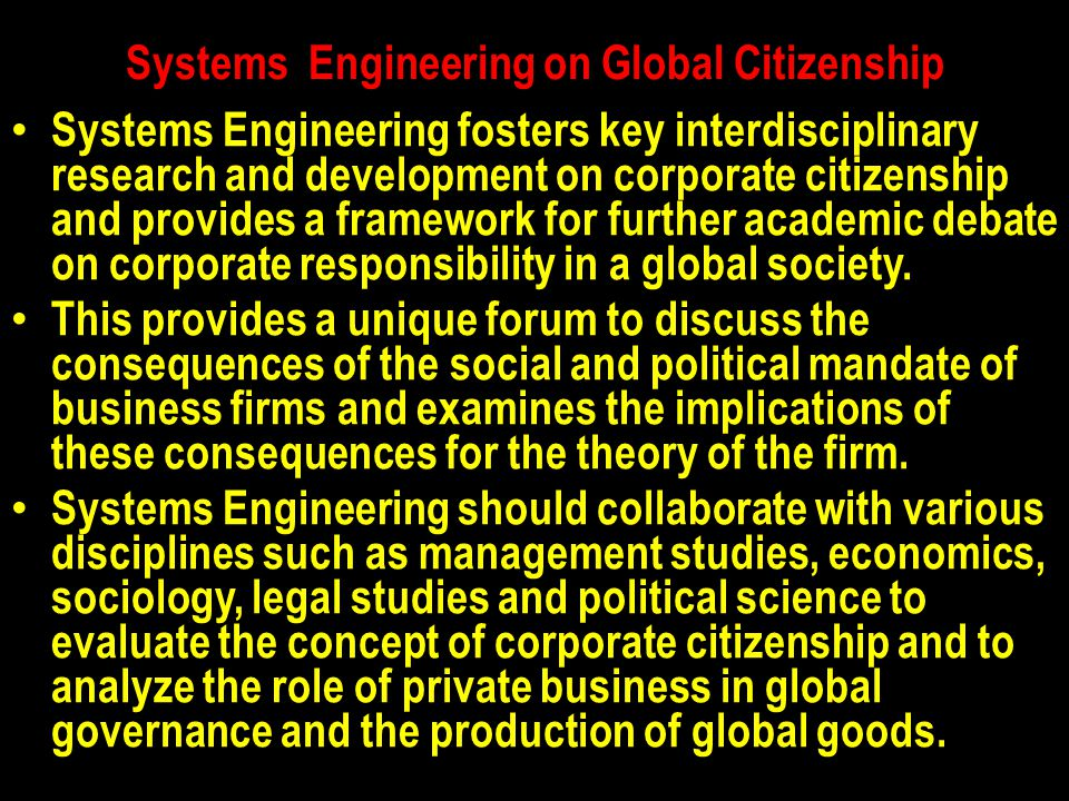 Systems Engineering on Global Citizenship
