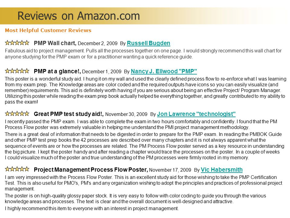 Reviews on Amazon.com Most Helpful Customer Reviews PMP Wall chart, December 2, 2009 By Russell Bugden.