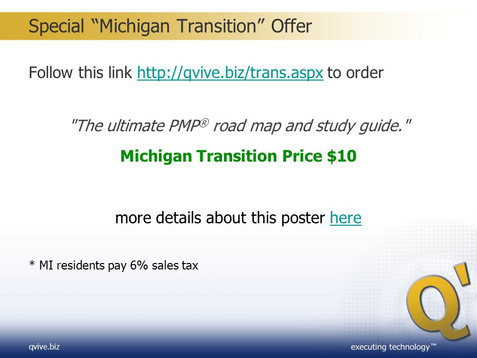 Special Michigan Transition Offer