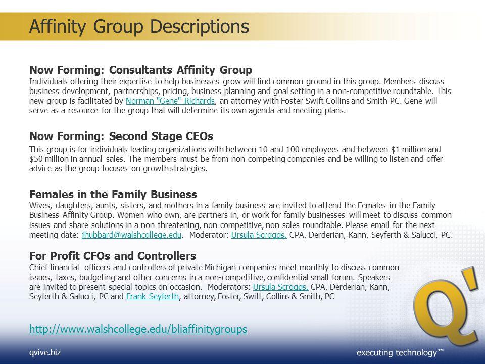 Affinity Group Descriptions