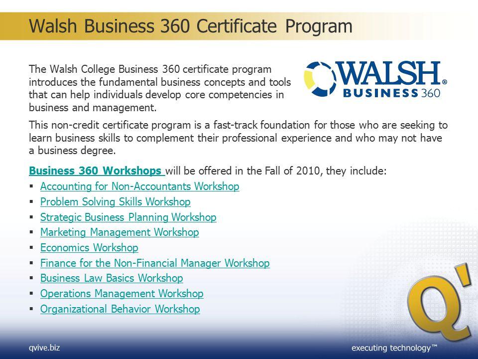 Walsh Business 360 Certificate Program