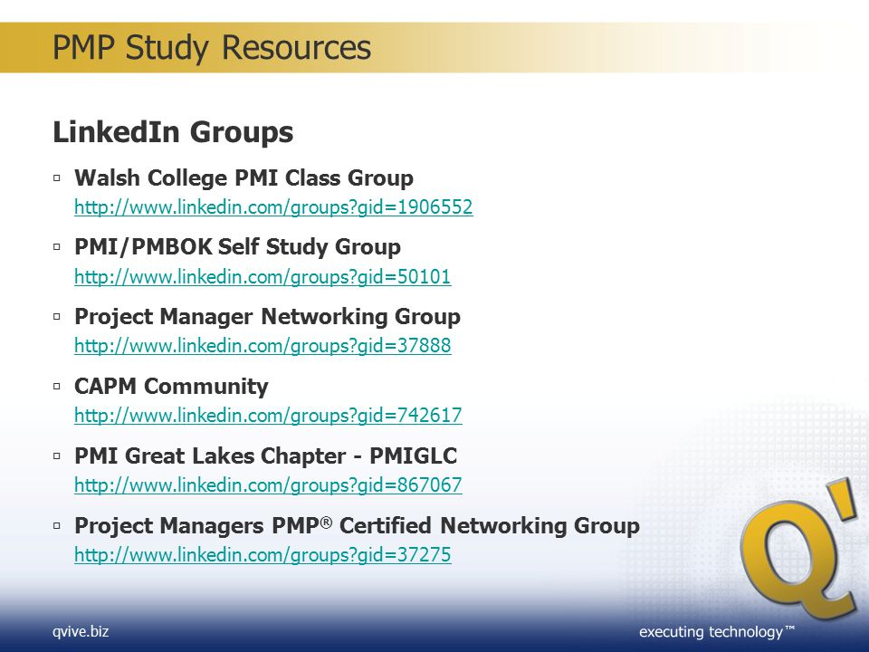 PMP Study Resources LinkedIn Groups Walsh College PMI Class Group