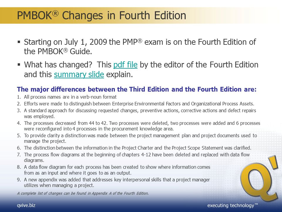 PMBOK® Changes in Fourth Edition