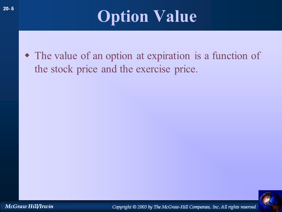 Option Value The value of an option at expiration is a function of the stock price and the exercise price.