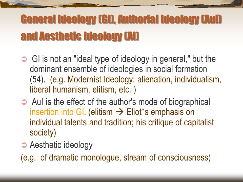 General Ideology (GI), Authorial Ideology (AuI) and Aesthetic Ideology (AI)
