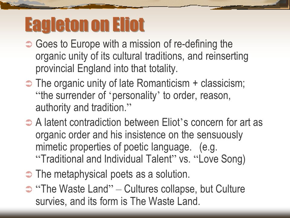 Eagleton on Eliot