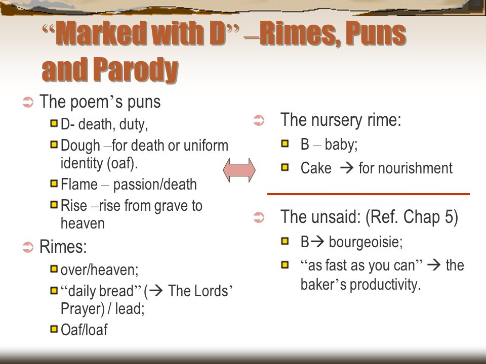 Marked with D –Rimes, Puns and Parody