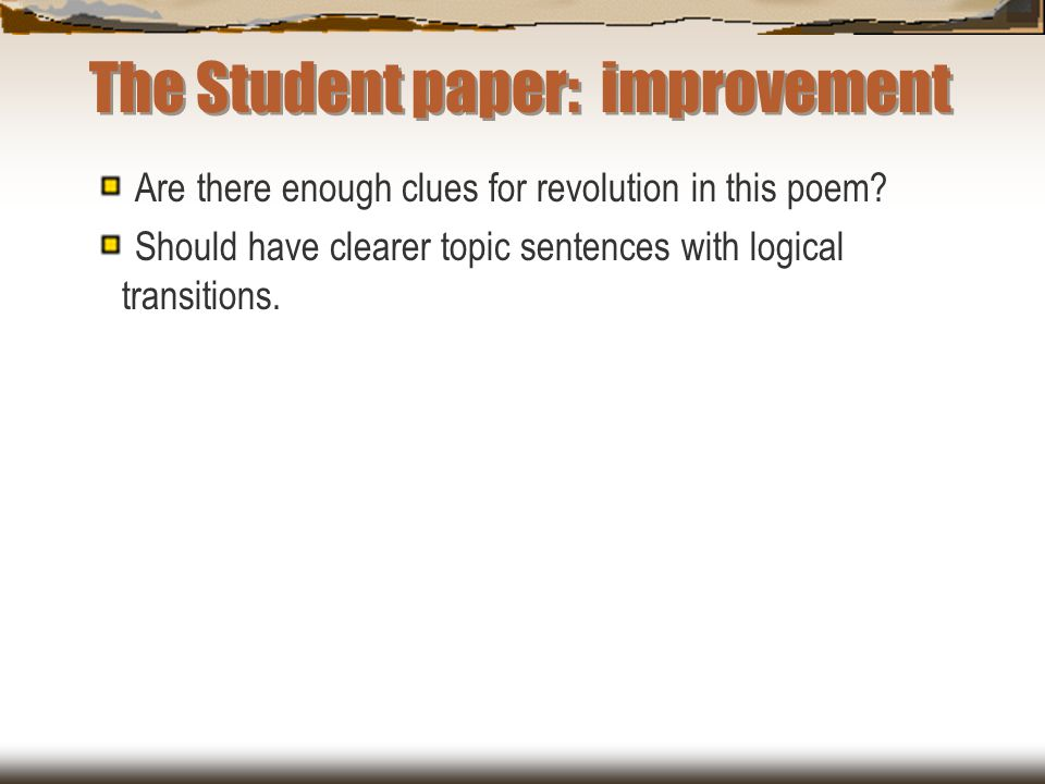 The Student paper: improvement