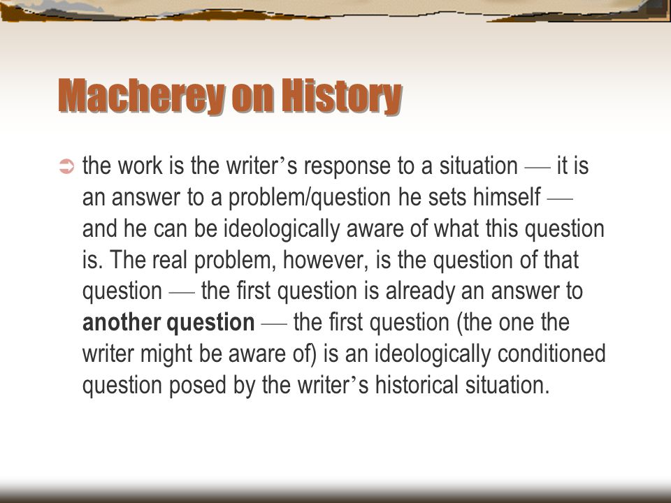 Macherey on History