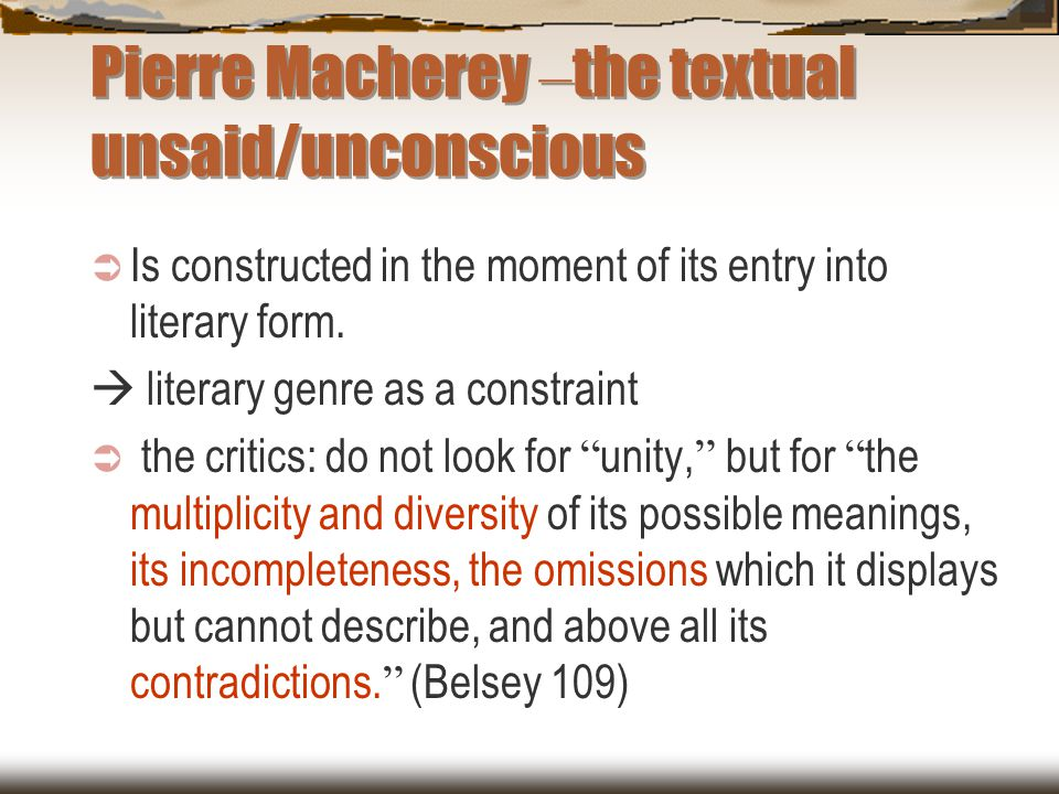 Pierre Macherey –the textual unsaid/unconscious